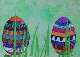 Bildnerische Erziehung in der Volksschule: Ostereier im Gras